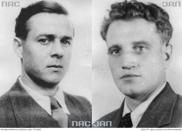 Porucznik Wilhelm Pluta (z lewej) i podporucznik Władysław Wiśniewski (z prawej). Źródło: domena publiczna.