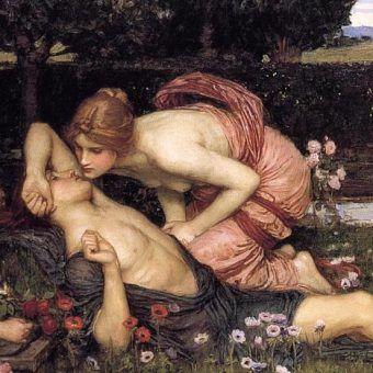 """""""Budzenie Adonisa"""". Obraz Johna Williama Waterhouse'a z 1900 roku (domena publiczna)."""