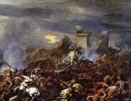 Podboje Alessandra pochłonęły trudną do zliczenia liczbę istnień ludzkich. Na ilustracji obraz Nicolaesa Pietersza Berchema przedstawiający bitwę nad Hydaspes (źródło: domena puliczna).