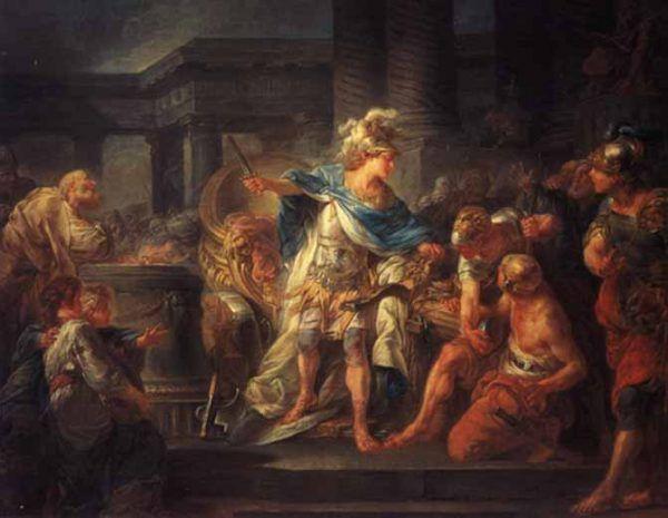 Trawiony ambicją Aleksander ciągle dążył do nowych, krwawych, podbojów. Na ilustracji obraz Jeana Simona Berthélemy'ego przedstawiający macedońskiego władcę przecinającego węzeł gordyjski (źródło: domena publiczna).