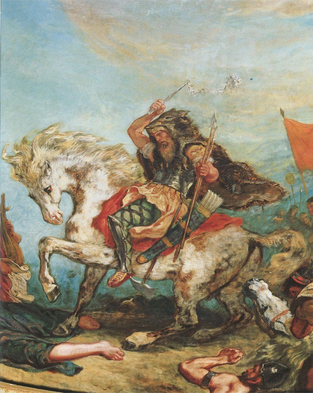 Attyla był równie bezlitosny dla własnej rodziny, co i dla wrogów. Na ilustracji wódz Hunów na obrazie Eugène'a Delacroix (źródło: domena publiczna).