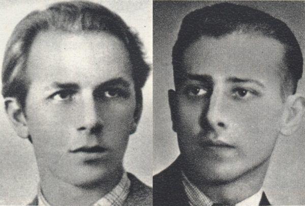 Podchorąży Tadeusz Battek (z lewej) i podporucznik rezerwy artylerii Karol Stanisław Dangel (z prawej). Źródło: domena publiczna.