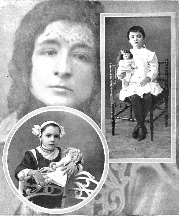 Po aresztowaniu wampirzycy z Barcelony w jej mieszkaniu znaleziono dwie dziewczynki: Teresitę i Angelitę. Tylko te dwie ofiary Enriquety (w tle) udało się uratować... (kolaż Antoni Esplugas, źródło: domena publiczna).