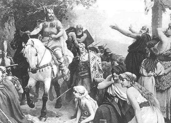 Tak w XIX wieku wyobrażano sobie przedstawicieli plemion germańskich. Niewiele ma to wspólnego z rzeczywistością (źródło: domena publiczna).