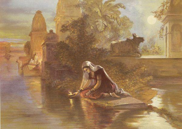 Swietłana osobiście dopilnowała, by prochy jej księcia trafiły do Gangesu. Z jego urną odbyła pierwszą zagraniczną podróż. Na ilustracji obraz Williama Simpsona z 1867 roku (domena publiczna).