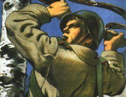 Czerwonoarmista w trakcie ofensywy na zachód. Tak przedstawiał ją radziecki plakat propagandowy, a jak wyglądała prawda? (źródło: domena publiczna).