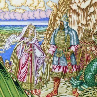 Rycerz Dobrynia ratuje piękną księżniczkę Zabawę z przebrzydłych łap smoczyska, ale nie może jej poślubić. Ta staroruska bajka do złudzenia przypomina historię najsłynniejszej radzieckiej księżniczki. Ilustracja Iwana Bilibina (domena publiczna).