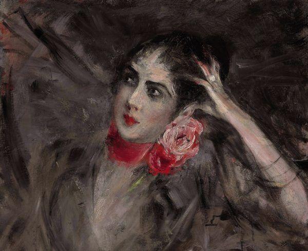 Katarzyna Rzewuska, późniejsza księżna Katarzyna Radziwiłłowa wyłania się z chaosu. Czyżby autor obrazu, Giovanni Boldini, trafnie ujął nieposkromiony charakter Polki? (źródło: domena publiczna).
