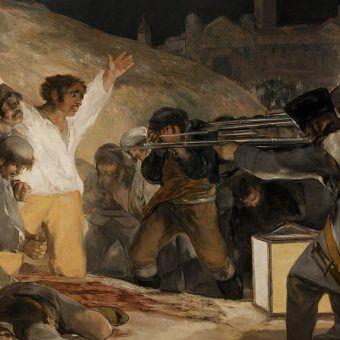 """Na współczesnych okrucieństwa, których dopuszczały się wojska napoleońskie, robiły wielkie wrażenie. Francisco Goya rozstrzeliwanie jeńców po skierowanym przeciw Francuzom powstaniu w Madrycie w 1808 roku uwiecznił na obrazie """"Trzeci maja"""" (źródło: domena publiczna)."""