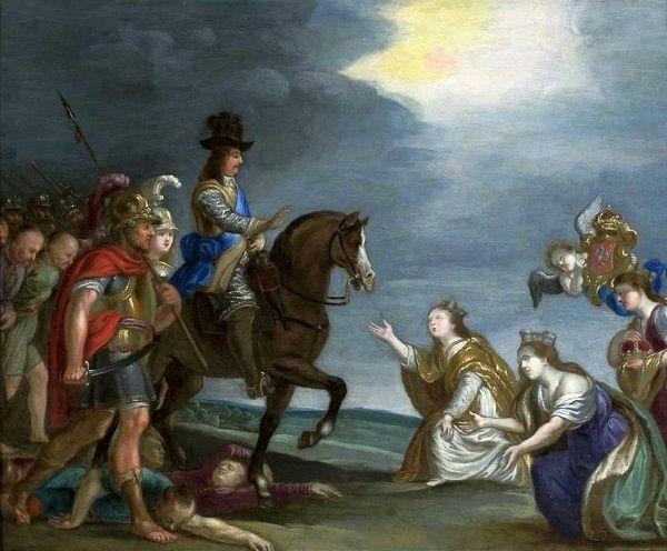 Obraz alegoryczny przedstawiający tryumf Karola X Gustawa nad Polską i Litwą.