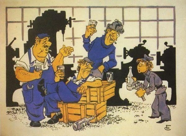 Niektórzy dobrowolcy zgłaszali się na leczenie psychiatryczne tylko po to, by nie wyrzucono ich z pracy... Radziecki plakat antyalkoholowy.