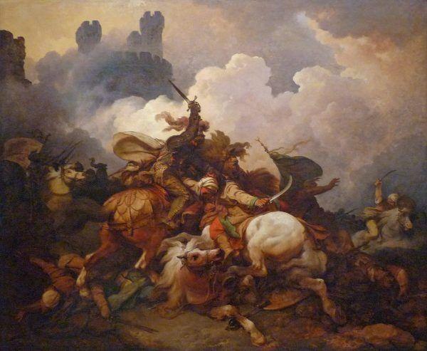 Książę bogatej Szampanii nie widział korzyści w przejęciu korony jerozolimskiej. Mimo długich namów ze strony wuja, Ryszarda Lwie Serce, w końcu posłuchał... serca. Na tym obrazie Philippe'a-Jacquesa de Loutherbourga widzimy, jak król Ryszard walczył pod Akrą (fot. Ji-Elle, lic. CC BY-SA 3.0).