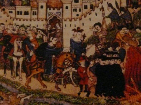 Najprawdopodobniej templariusze zawędrowali na stosy z powodów finansowych. Na tym XIV-wiecznym przedstawieniu widzimy, jak Cocharelli wyobrażał sobie króla Filipa IV Pięknego przyglądającego się paleniu zakonników (domena publiczna).