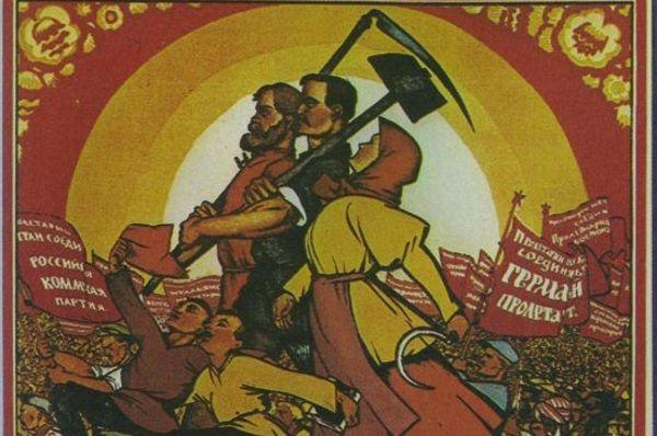 Radziecka propaganda dbała o to, by przedstawiać Związek Radziecki jako kraj mlekiem i miodem płynący. Kto uwierzył w to na tyle, by się tam przenieść? Ilustracja przedstawia fragment plakatu pierwszomajowego z 1920 roku (źródło: domena publiczna).
