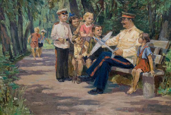 """""""Stalin z dziećmi"""". Obraz olejny Wiktora Jakowlewicza Konowałowa z lat pięćdziesiątych."""