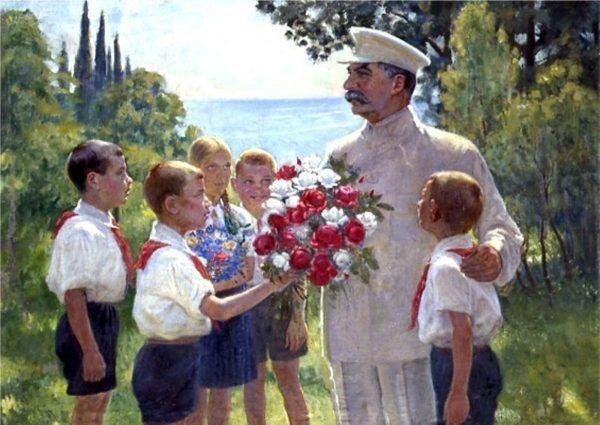 """""""Róże dla Stalina"""" - obraz socrealistycznego twórcy Borysa Władymirskiego z 1949 roku. Dzieło to zresztą uważane jest za klasyczny przykład propagandowej twórczości socrealistycznej."""