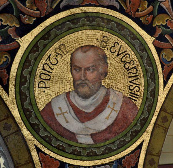 Papież Eugeniusz III chciał ułatwić pozyskiwanie funduszy na krucjaty. Efektem ubocznym było częściowe uwolnienie średniowiecznego rynku nieruchomości. Mozaika przedstawiająca papieża w klasztorze w Bregencji (fot. Andreas Praefcke, domena publiczna).
