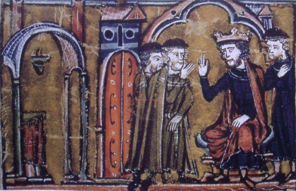 """Nazwa templariuszy wzięła się od Świątyni Jerozolimskiej. Na tym przedstawieniu widzimy króla Jerozolimy Baldwina II, który ceduje Świątynię na templariuszy - Hugona z Payens i Godfryda z Saint-Omer (Wilhelm z Tyru, """"Histoire d'Outre-Mer"""", XIII wiek, domena publiczna)."""