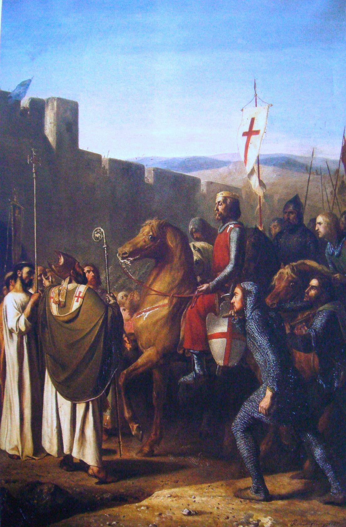 Baldwin z Boulogne był jednym z tych krzyżowców, którzy na krucjacie zrobili interes życia. Zaczynał jako młodszy z synów zwykłego hrabiego, skończył jako król Jerozolimy. Na tym obrazie J.Roberta-Fleury'ego z 1840 roku widzimy wkroczenie Baldwina do Edessy - jego pierwszy sukces na drodze do królewskiej korony (domena publiczna).