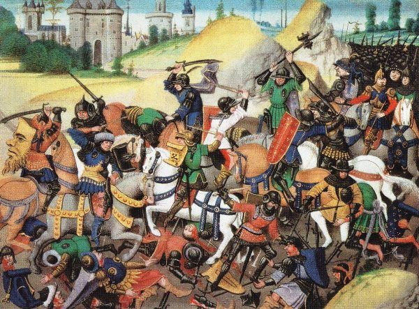 Łatwo było stracić na krucjacie czas, pieniądze i... życie. Zyskać cokolwiek - to już była sztuka! Na XIV-wiecznej miniaturze widać bitwę pod twierdzą antiocheńską (domena publiczna).