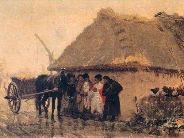 """Jest wóz, jest chałupa kryta strzechą... czyli niemal wszystko, co potrzebne do szałowej sylwestrowej balangi. Obraz Józef Chełmońskiego z 1873 roku zatytułowany """"Podczas deszczu"""" (domena publiczna)."""
