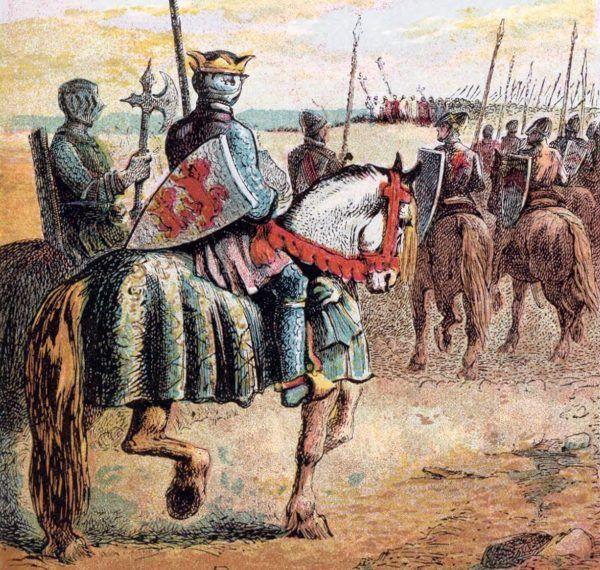 Robert II Krótkoudy gotów był zastawić całe swe dziedzictwo - pokaźne księstwo Normandii - by wziąć udział w krucjacie. Na tej ilustracji Josepha Martina Kronheima z 1868 roku widzimy wyobrażenie tego władcy na czele swych wojsk w Palestynie (domena publiczna).