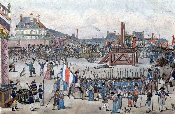 Co do tego ile dokładnie osób zgilotynowano w czasie rewolucji francuskiej ciągle trwają dyskusje. Było to jednak co najmniej kilkanaście tysięcy nieszczęśników. Na ilustracji egzekucja Robespierre'a (źródło: domena publiczna).