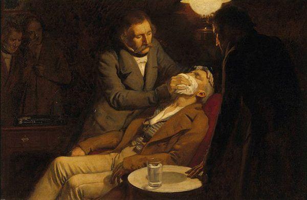 Eter był prawdziwym zbawieniem dla pacjentów, którzy musieli poddać się operacji. Jednak szybko stał się dla wielu tanim i łatwo dostępnym środkiem odurzającym. Na ilustracji obraz Ernesta Boarda (źródło: domena publiczna).