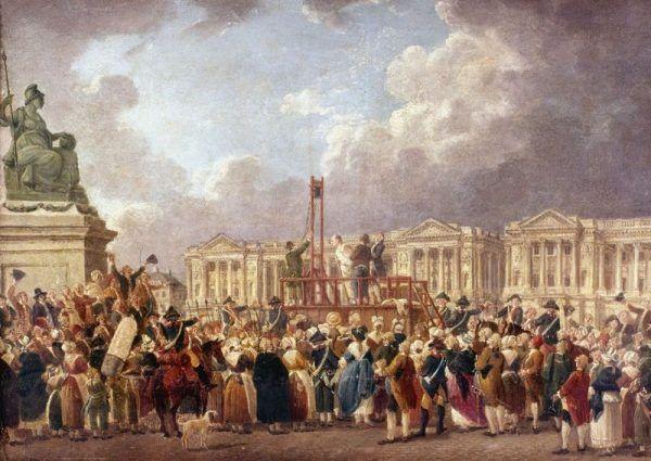 Gilotyna na placu Rewolucji. Obraz Pierre'a-Antoine'a Demachy (źródło: domena publiczna)