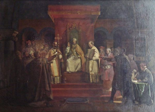 Tak zatwierdzenie oficjalnej reguły templariuszy na synodzie w Troyes wyobrażał sobie w 1840 roku malarz François Marius Granet (domena publiczna).