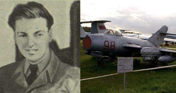 Franciszek Jarecki (źródło: domena publiczna) oraz MiG5-bis. Właśnie takim samolotem polski pilot uciekł na Zachód (fot. Kirill Pisman; lic. CC BY-SA 2.0).