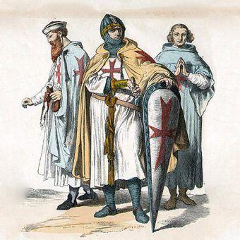 """Templariusze na rysunku z popularnej w II połowie XIX wieku serii """"Münchener Bilderbogen"""" (domena publiczna)."""