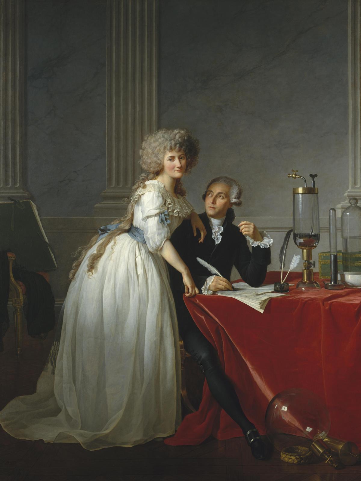 Głowę na gilotynie stracił między innymi słynny chemik Antoine Lavoisier. Tutaj wraz z żoną uwieczniony przez Jacquesa-Louisa Davida (źródło: domena publiczna).
