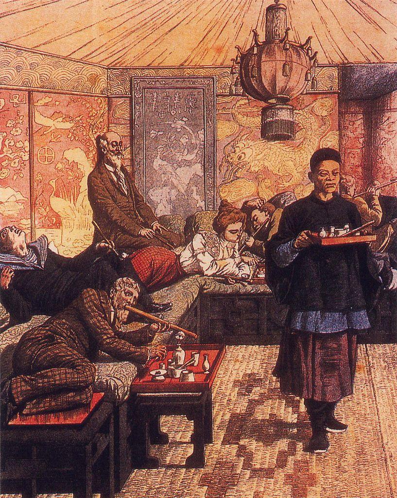 """Paryska palarnia opium z przełomu XIX i XX wieku. Ilustracja z czasopisma """"Le Petit Journal"""" (źródło: domena publiczna)."""