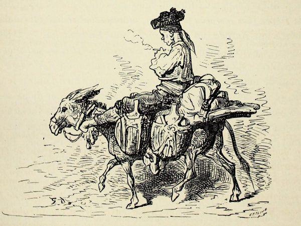 """Nie ma to jak jazda na osiołku... szczególnie, gdy to prześmiewcza parada. Rycina Gustave Doré zatytułowana """"Paysan des environs de Madrid"""" Iic. CC BY 2.0)."""