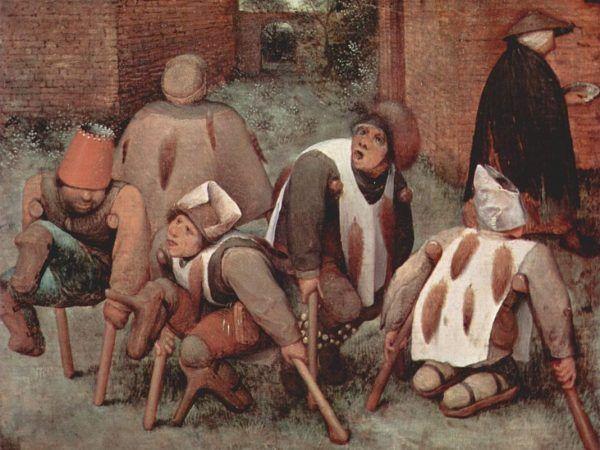 """W średniowieczu i nowożytności niepełnosprawnych traktowano jak źródło niekończącej się rozrywki... Obraz Pietera Bruegela starszego """"Kalecy"""" z 1569 roku (domena publiczna)."""