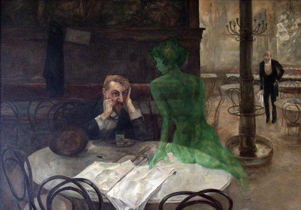 """Absynt stał się alkoholowym symbolem przełomu XIX i XX wieku. Na ilustracji obraz """"Pijak absyntu"""" pędzla Viktora Olivy (źródło: domena publiczna)."""