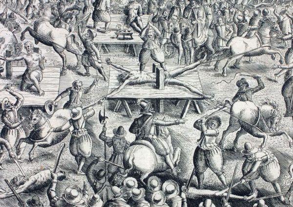 XVII-wieczna ilustracja przedstawiająca ćwiartowanie skazańca przy użyciu czterech koni (domena publiczna).