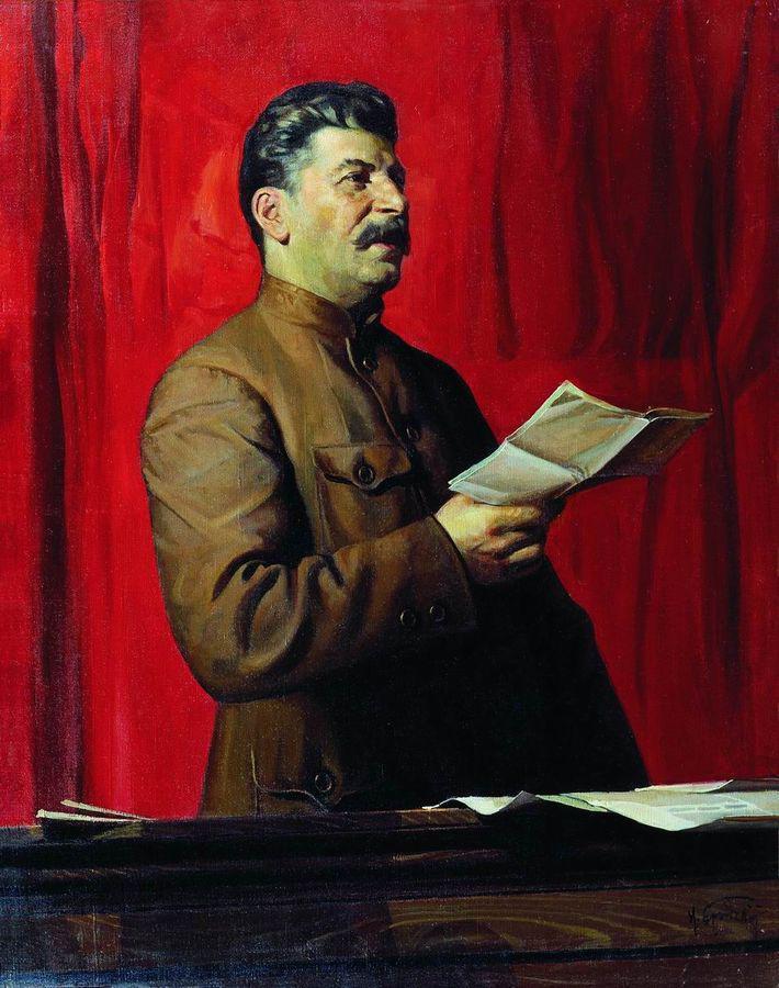 Tylko Stalin mógł pozwolić sobie na deportację całych narodów. Na ilustracji portret radzieckiego dyktatora pędzla Isaaka Brodskiego (źródło: domena publiczna).