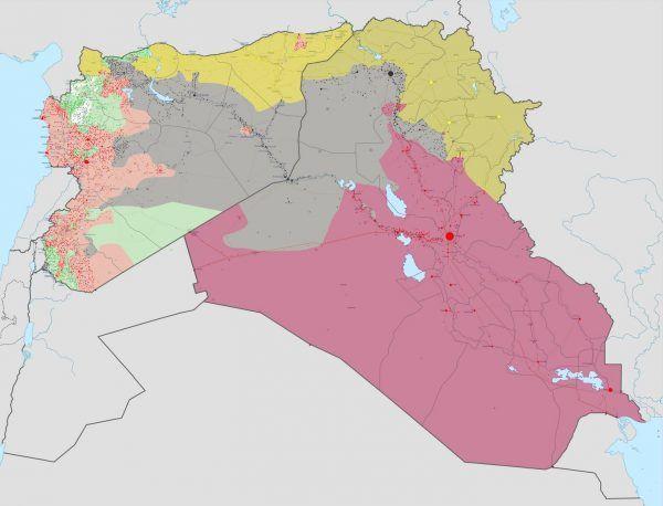 By Islamskie Państwo Iraku i Syrii rosło w siłę, potrzebni są wojownicy. Jak ich wyłapywać? Najlepiej przez Internet! Na mapie Syrii i Iraku szarym kolorem zaznaczono obszar kontrolowany przez ISIS w lutym 2017 roku (autor: Haghal Jagul, domena publiczna).
