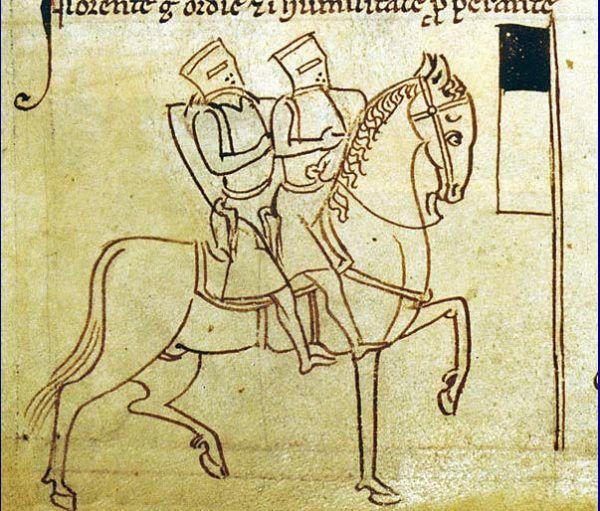 """Do rangi symbolu zakonu urosło przedstawienie dwóch rycerzy na jednym koniu. Wiele wskazuje, że nie tyle miało ono obrazować ubóstwo braci, co... wzajemną kontrolę podczas podróży (Matthew Paris, """"Chronica Majora"""", domena publiczna)."""