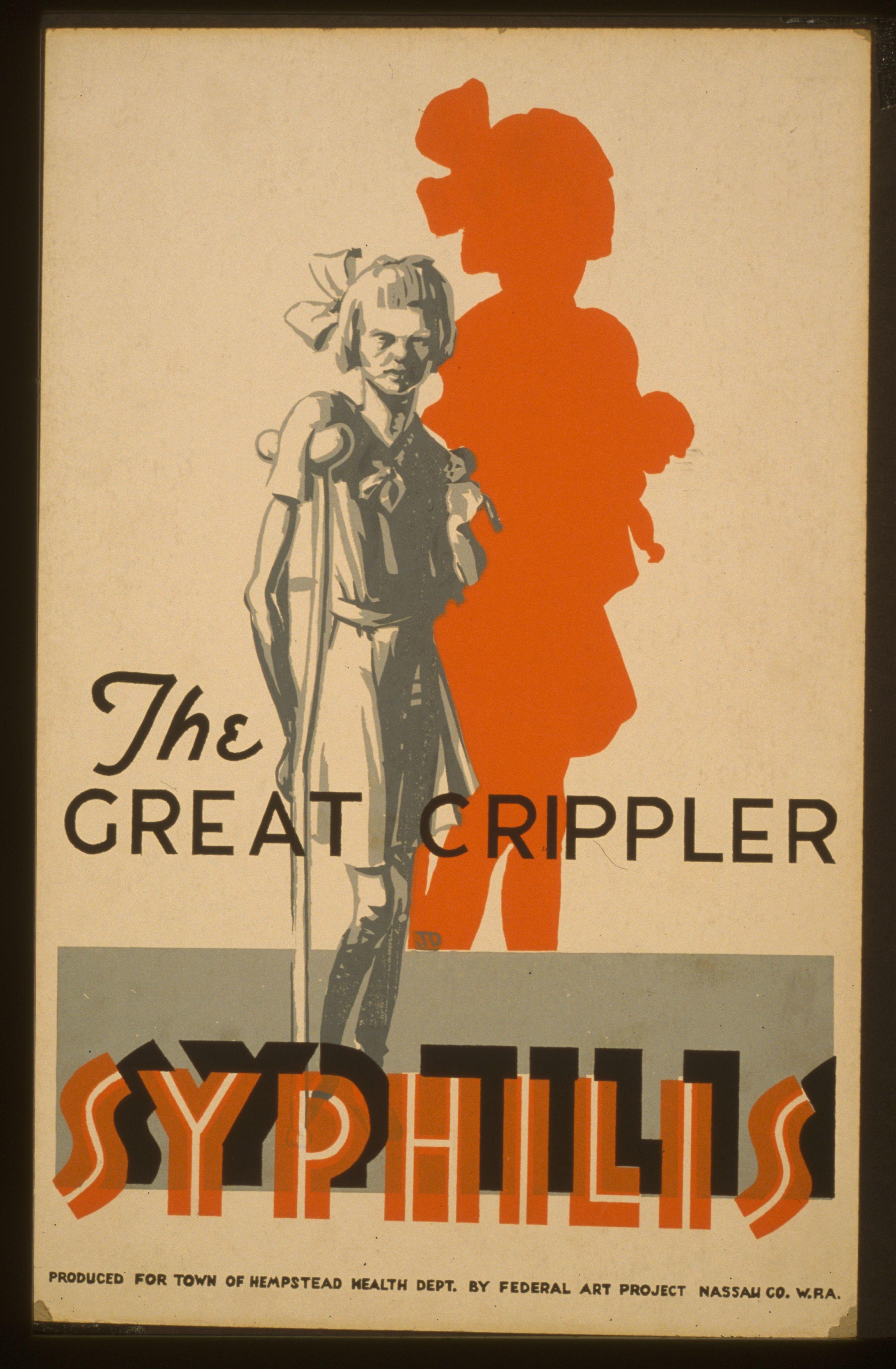 Rządy w okresie międzywojennym wszelkimi sposobami ostrzegały przed skutkami syfilisu, zachęcając do podjęcia jak najszybszego leczenia. Powyższy plakat przygotowano na zlecenie Wydziału Zdrowia w Hempstead (źródło: domena publiczna).