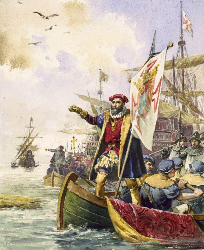 Templariusze, którzy przetrwali hekatombę, zwykle przechodzili do pokrewnego zakonu. W Portugalii założyli zaś własny Zakon Rycerzy Chrystusa, który odegrał potem ważną rolę w dobie wielkich odkryć geograficznych. Na tym obrazie Ernesta Casanovy z 1880 roku widać Vasco da Gamę na statku pod banderą Rycerzy Chrystusa, lądującego u brzegu Kalkuty (domena publiczna).