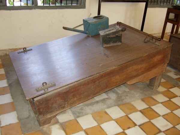 Stół do podtapiania. Nogi więźnia przykuwano u góry, nadgarstki u dołu, po czym polewano mu twarz wodą z zielonej konewki (fot. waterboarding.com, CC BY 2.0).