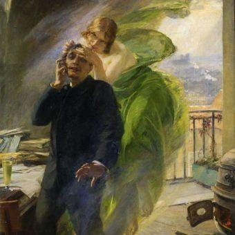 """U schyłku XIX wieku niezwykle popularnym środkiem odurzającym by absynt. Na ilustracji fragment obrazu Alberta Maignana """"Zielona Muza"""" (źródło: domena publiczna)."""
