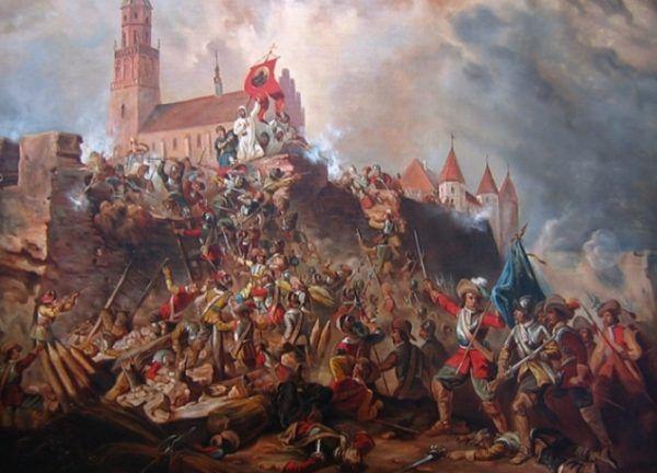 Artyści lubią sobie wyobrażać oblężenie Jasnej Góry w zgodzie z sienkiewiczowską wizją. Cóż, rzeczywistość wyglądała nieco inaczej niż na obrazie Franciszka Kondratowicza z XIX wieku… (fot. Maciej Szczepańczyk, lic. CC BY 3.0).