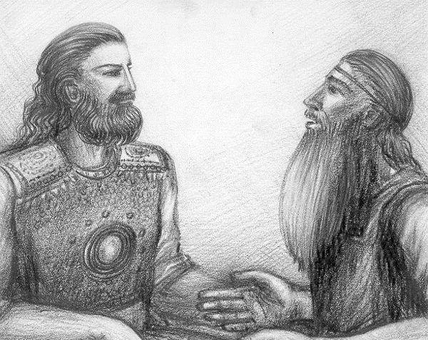 Pewne elementy wierzeń maryjskich pozostają niezmienne od tysiącleci. Ilustracja przedstawia współczesne wyobrażenie najwyższego boga mitologii Czeremisów, Kugu Jumo, z maryjskim mężczyzną (rys. Нуриев Рустам, źródło: domena publiczna).