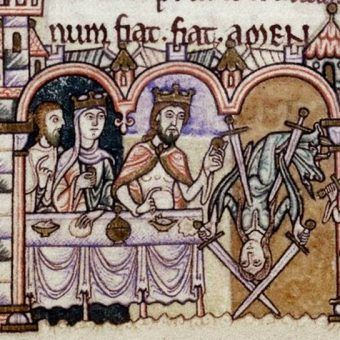 """To tylko jedna z dziwnych, dawnych rozrywek. Niecodzienny taniec Salome przed Herodem wedle Anzelma z Canterbury, """"Modlitwy i medytacje"""", Anglia, XII wiek (domena publiczna)."""