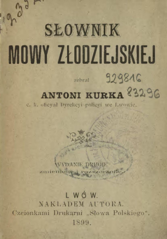 Strona tytułowa drugiego wydania słownika Kurki.