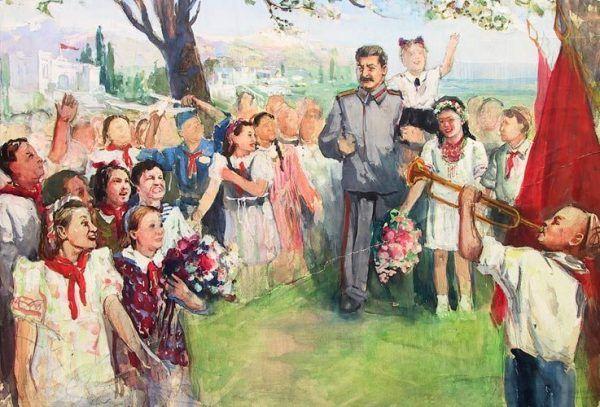 """""""Stalin i dzieci"""" Konstantyna Titowa w 1950 roku, olej na płótnie."""